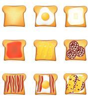ställa in ikoner rostat bröd vektor illustration