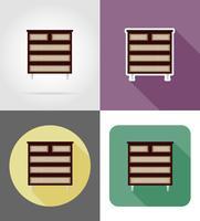 Ikonen-Vektorillustration der Kommodenmöbel flache eingestellt