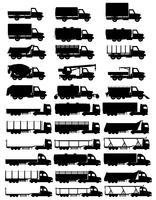 set ikoner lastbilar semitrailer svart silhuett vektor illustration