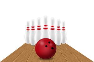 Bowlingkugel- und Stiftvektorillustration