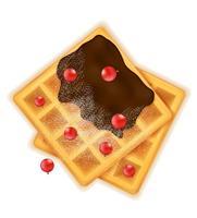 belgische Waffel mit Schokoladensüßspeise zum Frühstück vektorabbildung