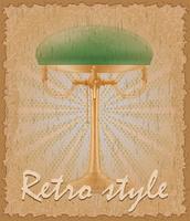retro stil affisch gammal bordslampa vektor illustration