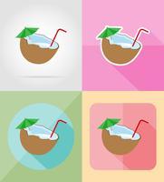 cocktail av kokosnöt platta ikoner vektor illustration