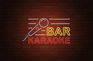 glödande neon skylt karaoke bar vektor illustration