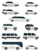 Satz Autos für die Transportpassagiere vector Illustration
