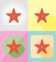 sjöstjärna platta ikoner vektor illustration