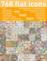 768 olika uppsättning platt ikoner och symboler vektor illustration