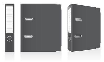 Schwarze Ordnermappe des Ordners Metall für Bürovektorillustration