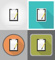Vektor-Illustration der Zwischenablage und des Stiftes flache Ikonen