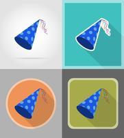 keps för födelsedagskvällar platta ikoner vektor illustration