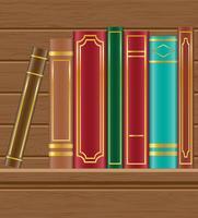 Bücher über hölzerne Regalvektorillustration