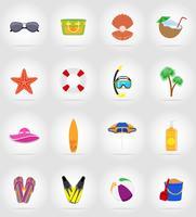 objekt för rekreation en strand platt ikoner vektor illustration