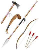 set ikoner kantade vapen amerikanska indianer vektor illustration