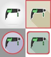 elektrische Bohrgeräte für den Bau und Reparatur von flachen Ikonen vector Illustration