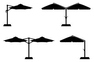 großer Sonnenschirm für Bars und Cafés auf der Terrasse oder der schwarzen Silhouette-Vektorillustration des Strandes