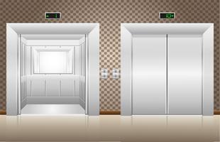två hissdörrar är öppna och stängda