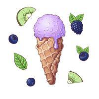 Set Eiscreme mit Früchten einschließlich Brombeere, Kiwi, Blaubeere