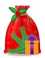 rote Weihnachtsbeutel Weihnachtsmann-Vektorillustration