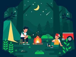 Camping folk illustration med två mänskliga tecken med utomhus vila bryta i den vilda miljön på natten vektor platt illustration