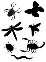 skalbaggar och insekter silhuett vektor