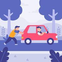 Helfender Freund des Mannes, der gebrochenes Auto mit Baumhintergrund drückt. Flache Art-Vektor-Illustration. vektor