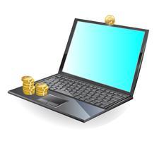 svart bärbar dator och guldmynt vektor
