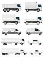 uppsättning ikoner bilar och lastbil för transport last vektor illustration