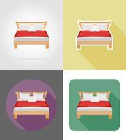 Ikonen-Vektorillustration der Bettmöbel flache eingestellt