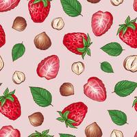 Erdbeer-Nüsse nahtlose Muster. Vektor-Illustration Handzeichnung