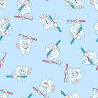 Sömlöst mönster med roliga tänder. Handritning. Vektor illustration