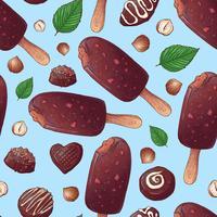 Sömlöst mönster. Chokladglass och godis. Vektor illustration