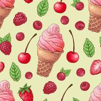 Seamless mönster glass hallon körsbär. Vektor illustration