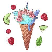 Set Eiscreme-Einhorn-Kiwi-Himbeere. Vektor-illustration Handzeichnung