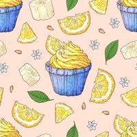 Nahtloses Muster des Fruchtcupcakes. Handarbeit. Vektor-illustration