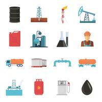 Petroleumindustrins ikonuppsättning vektor