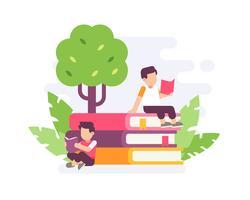 Leute, die auf großem Stapel des Buches mit flacher Vektorillustration des Baumhintergrundes lesen