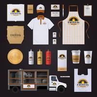 Pizza-Unternehmensidentitäts-Schablonen-Design-Set