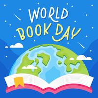pop up bok av jordklot med stjärnig bakgrund platt vektor illustration. världs bok dag.