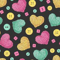 Sömlös mönster stickning knappar hjärta. Handgjord vektor illustration