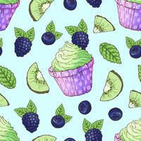 Seamless mönster cupcake blackberry blåbär kiwi. Handritning vektor illustration