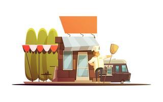 Lokal butik byggnad illustration