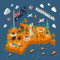 Australien Turistattraktioner Isometric Map Poster