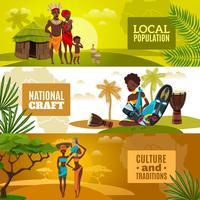 Afrikansk kultur Flat Horisontell Banners Set vektor
