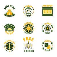 Casino ikoner märken Set vektor
