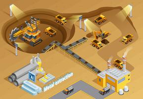 Bergbau isometrische Illustration