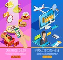 Online Shopping E-handel Isometric Banners