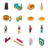 Isometrische Ikonen Chile-touristische Sehenswürdigkeiten eingestellt