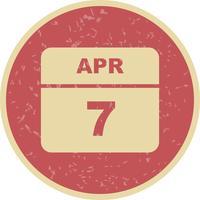 7 april Datum på en enkel dagskalender vektor