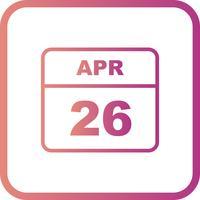 Datum des 26. Aprils an einem Tageskalender