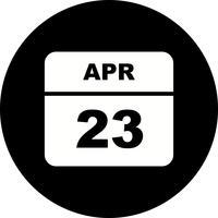 23 april Datum på en enkel dagskalender
